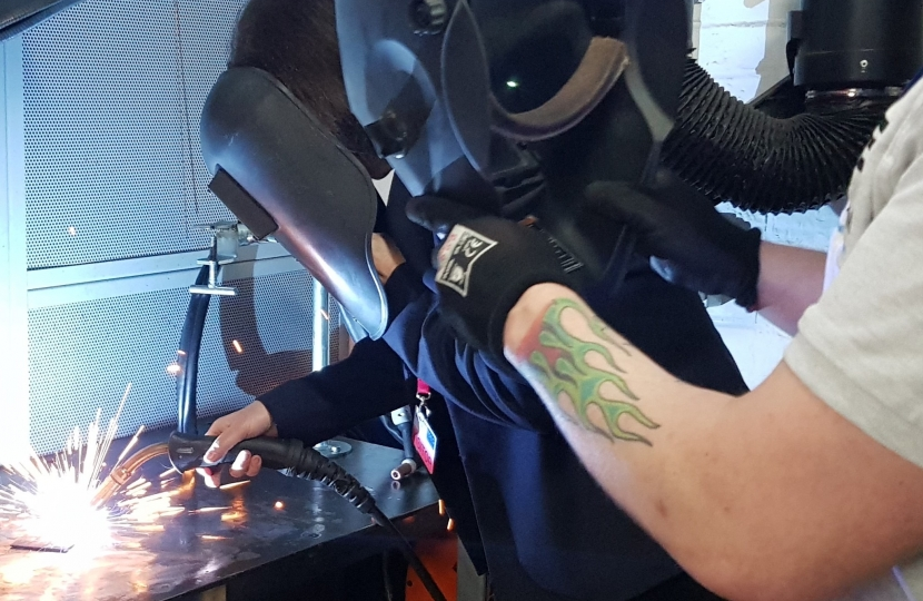 Jo trys out welding at North Staffs Engineering Group