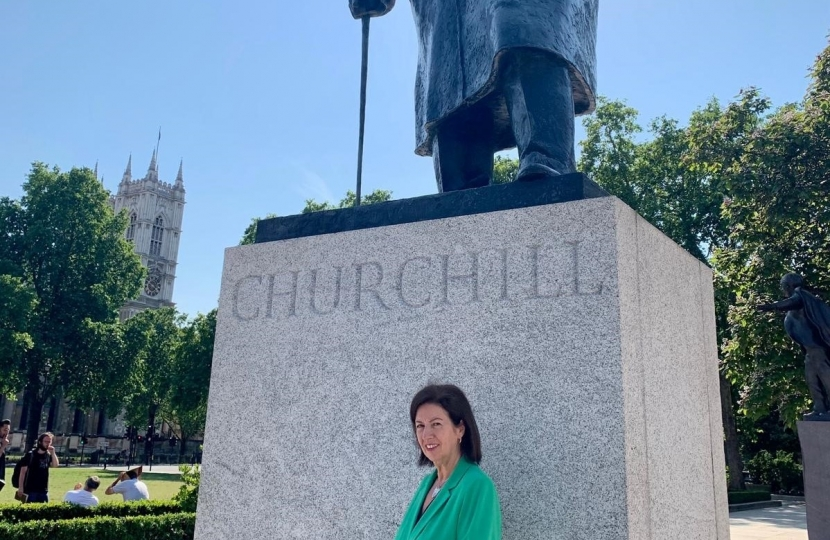 Jo at the Churchill Statue, Westminster